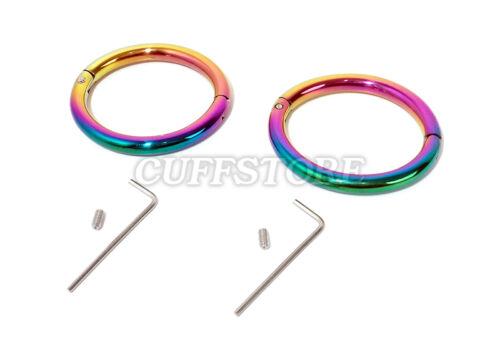 "8.5"" Eternity Wrist Cuffs Handcuffs Restraint Elliptical Rainbow Cuffs Bracelet"