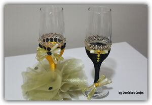 Hand made champagne glasses for weddings and special occasions Kitchener / Waterloo Kitchener Area image 1