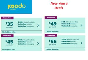cheap Koodo cell phone plans 3gb-$35/4gb-$45/8gb-$49/10gb-$56
