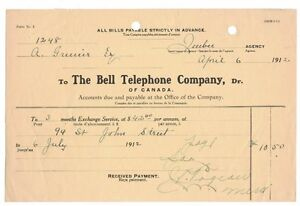 1912-04-06, THE BELL TELEPHONE COMPANY/QUÉBEC, SIGNÉ J.P. PAGEAU