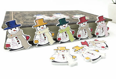 Christmas Mr. Snowman Wooden Buttons decoration Christmas crafts Sewing 35mm - Wooden Snowman Crafts
