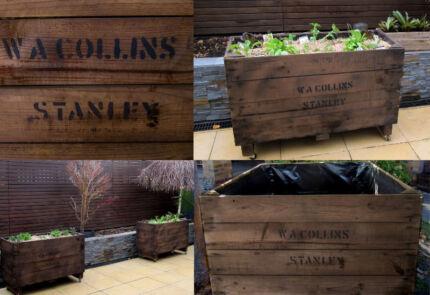 Recycled fruit crate planter box raised veggie gardens.
