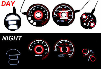 Red Glow 93-97 Honda Del Sol Si 130MPH Gauge Face Overlay DelSol JDM