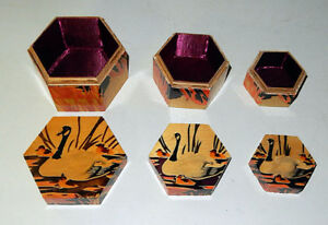 Set of Nesting Wooden Hexagonal Boxes