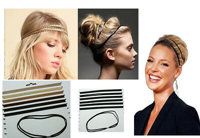 Gummi Haarband doppelt Haarschmuck stretch Bänder FARBWAHL sport Stirnband