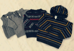 Sweaters and vest, sizes 12, 18 and 24 months