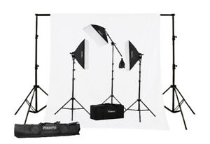3-Point Photo Video Softbox Kit + Background Kit & Stand