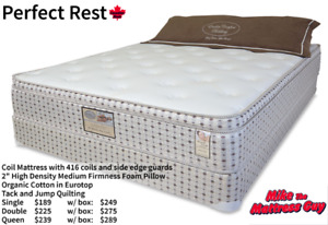 NEW PILLOW TOP MATTRESS & BOX - QUEEN $289/ DOUBLE $275/ S $249!