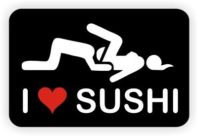 Funny Hard Hat Sticker I Love Sushi Motorcycle Dirt Bike Helmet Cool Decal