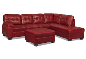 Red Genuine Leather sectional with Ottoman $1250 OBO