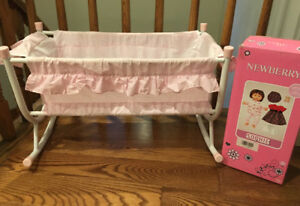 DOLL CRIB CRADLE BED WITH DOLL & CLOTHING