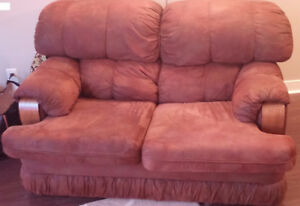 Brown Fabric Loveseat - Pickup Required