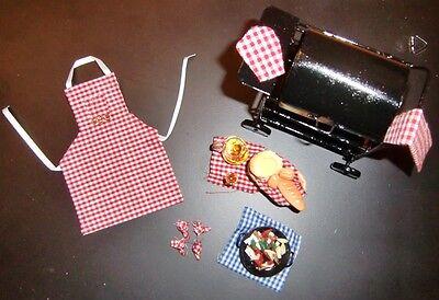 BBQ Set Grill mit Zubehör Metall schwarz Garten Puppenhaus Puppenstube vf 1112