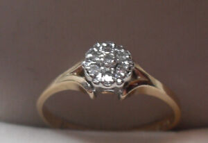 "14kt yellow gold ""Diamond Cluster""-  Engagement Ring"" -  Size 6"