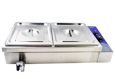 2 Pan Food Warmer Counertop Steam Table 110v 1500w