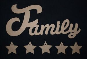 Unpainted mdf plaque family wooden script words decorative for Furniture 5 letters word whizzle
