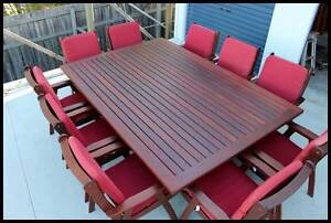 11 pce Kwila outdoor dining table and chairs   setting. Arana Hills Brisbane North West Preview