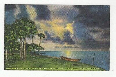Vintage Linen Color Used Postcard Gulf of Mexico St. Petersburg Florida
