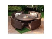 150cm dia table curved dining set
