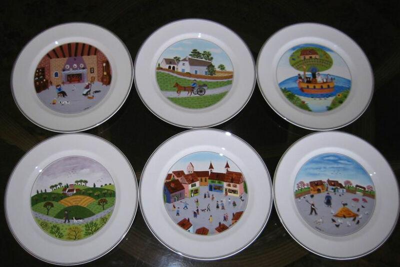 Villeroy Boch Design Naif Dinner Plates 6 Brand New