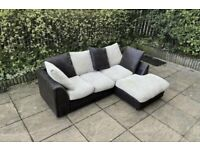 cream & brown corner sofa can be delivered