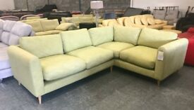 Green fabric corner sofa