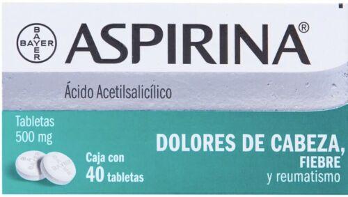 Aspirina Dolor Cabeza 500mg Aspirin Headache Arthritis Pain Fever Fiebre Reumas