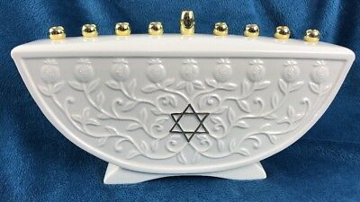 """Lenox Judaic Blessings Menorah Menora Hanukkah Decor 7"""" X 11.5""""  Candle 836489"""