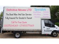 24/7 Man And Large Luton Van With Tail Lift For House/Office Relocation, Deliveries And Clearance