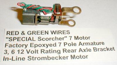 Scorcher 7 Motor Strombecker Epoxied Armature Original 1960 Red Green Wire 8389