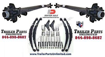7k Tandem Trailer Axles Idler Set 6247 5 Lug Hubs W All Hardware 5x4.5 Hubs