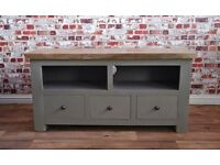 Hardwood Rustic TV Entertainment Cabinet Unit with Three Drawers