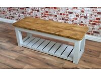 Rustic Farmhouse Style Hall Bench Solid Reclaimed Pine Wood Shoe Storage Space Saving