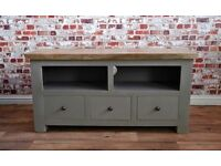 Rustic Farmhouse Solid Hardwood TV Entertainment Cabinet Unit with Three Drawers