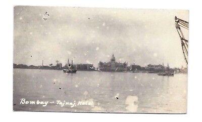 Bombay Harbor (RPPC BOMBAY INDIA HARBOR BOAT SHIP TAJNAJ HOTEL Vintage Photo Postcard c 1920)