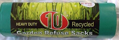 200 GREEN GARDEN BAGS SACKS REFUSE  - 10's on a roll RECYCLED -GARDEN WASTE