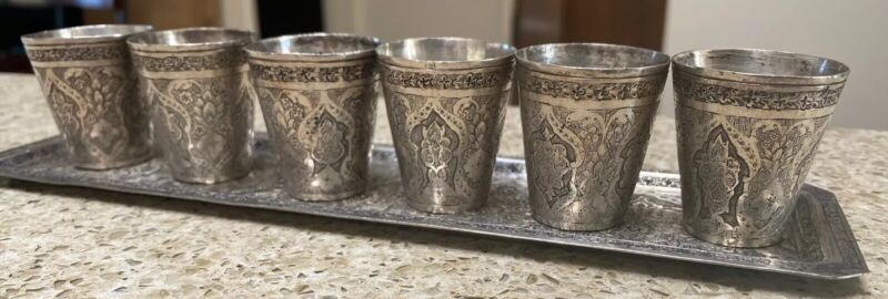 Antique 900 Middle Eastern Silver Engraved Tray Cordial Set