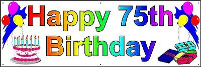 HAPPY 75th BIRTHDAY BANNER 2FT X 6FT NEW LARGER SIZE - Happy 75th Birthday Banner