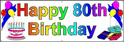 HAPPY 80th BIRTHDAY BANNER 2FT X 6FT NEW LARGER SIZE (80th Birthday Banners)
