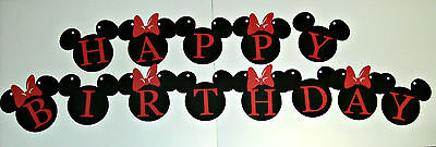 Hand Crafted Banner,Disney,Mickey and Minnie Happy Birthday Banner (528B)