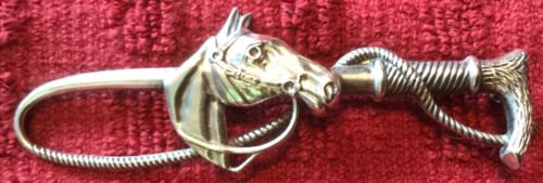 Whip and Horse Head Facing Right Sterling Silver Pin Stockpin