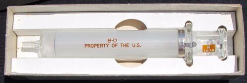 1953 B-D US NAVY 10cc/ml Glass Syringe Korean War Era Property of U.S. Milsurp