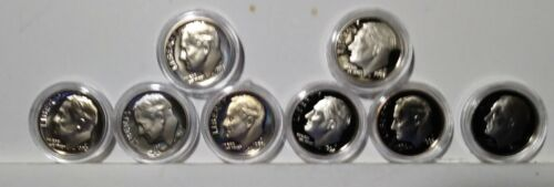 """Lot of 8 Different Proof Roosevelt Dimes in airtite case """"S"""""""