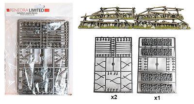 Split Rail Fencing (Renedra Plastic Split Rail Fencing with Low Stone Walls - 28mm ACW Black)