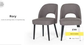 2 MADE. com RORY Dining Chairs upholstered Graphite Grey Notts