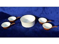 4 Mini Porcelain Frying Pans and 1 Casserole Dish By Apilco