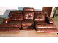 Genuine Leather Recliner 3 Seater Sofa