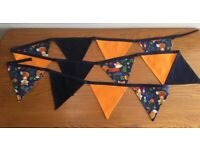Mother's Day Gift Idea Handmade 2.25m Long Navy Fox-Themed Fabric Bunting - collect from Gosport