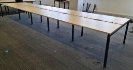 10-pod/bench office desks/tables for businesses
