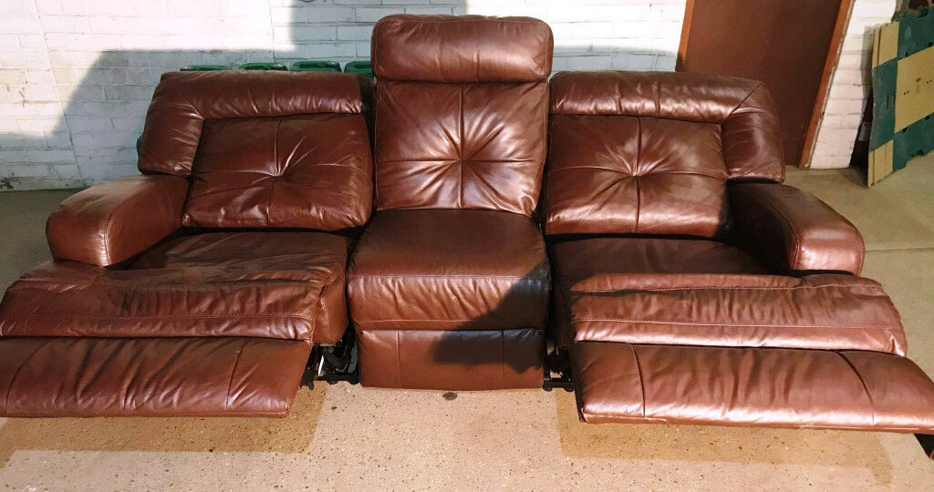 Genuine Leather Recliner 3 Seater Sofa. Delivery available